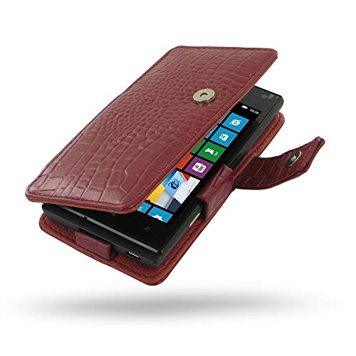 PDair Handarbeit Leder Book Hülle for Huawei Ascend W1 (Red Crocodile Pattern)