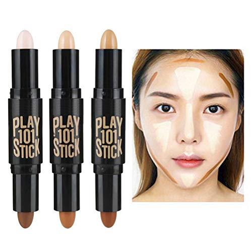Concealer Doble de Maquillaje, Barra de Contouring y lápiz iluminador en uno, para Todo Tipo de Pieles, 3 Unidades