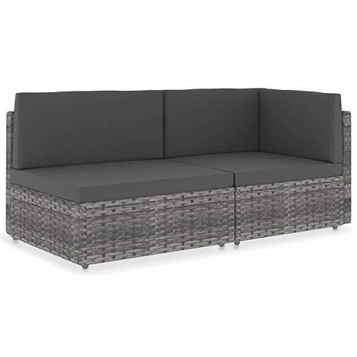 vidaXL Sofa 2-Sitzer Modular Gartenmöbel Mittelsofa Ecksofa Gartenset Gartensofa Rattansofa Rattanmöbel Lounge Garnitur Poly Rattan Grau
