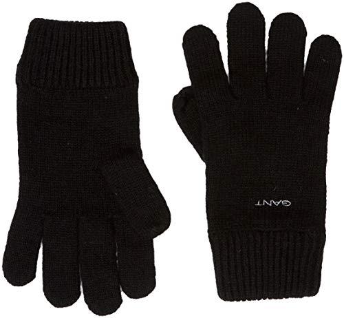 GANT Herren D1. KNITTED WOOL GLOVES Handschuhe, Schwarz (Black 5), One Size (Herstellergröße: Oversize)