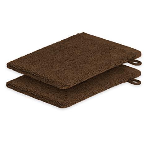 Lot de 2 gants de toilette ExKLUSIV HEIMTEXTIL 15 x 21 cm 500 g/m², chocolat, 2x Waschhandschuh 15 x21 cm