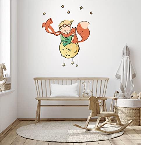 Vinilo decorativo infantil - El Principito encuentra un amigo - Decoración de pared, vinilos de pared