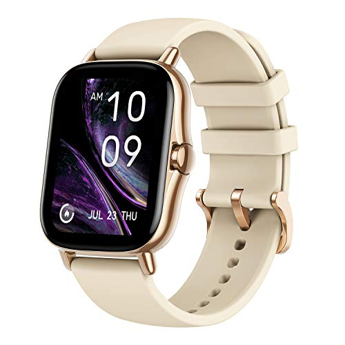 Amazfit GTS 2 Smart Watch, 1.65 inch (4.19 cm) AMOLED Display, Built-in Amazon Alexa, Built -in GPS, SpO2 & Stress Monitor, Bluetooth Phone Calls, 3GB Music Storage, 90 Sports Modes (Desert Gold)