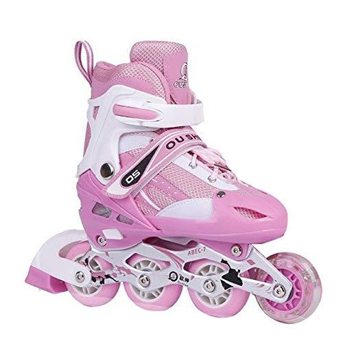 GUOCU Super Blades, Roues LED illuminées Rollers Enfants idéals débutants, Patins à roulettes Confortables Patins Inline Filles garçons,Rose,M(35-38)