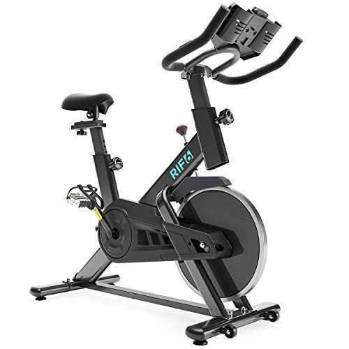 RIF6 Exercise Bike – Indoor Cycling Bike with Phone and Tablet Mount, 40 Lb Flywheel and Belt Drive System – Stationary Bike with Adjustable Seat, Bottle Holder, LCD Monitor and Heart Rate Sensor