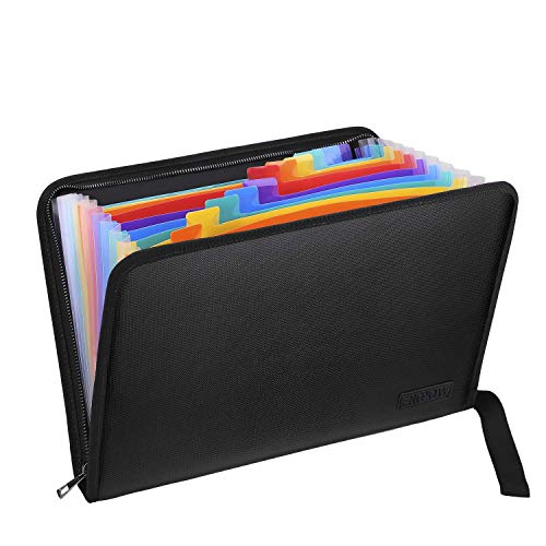 Fireproof Expanding File Folder with 13 Multicolored Pockets A4 Size Document Organizer with Color Labels Zipper Closure Non-Itchy Silicone Coated Portable Filing Pouch(14.3' x 9.8')