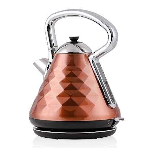 Ovente Electric Hot Water Kettle 1.7 Liter Cleo Collection Fast Heating Element & Cool Touch Handle, 1500 Watt Tea Maker with Boil Dry Protection & Auto Shut-Off, Perfect for Coffee, Copper KS755CO