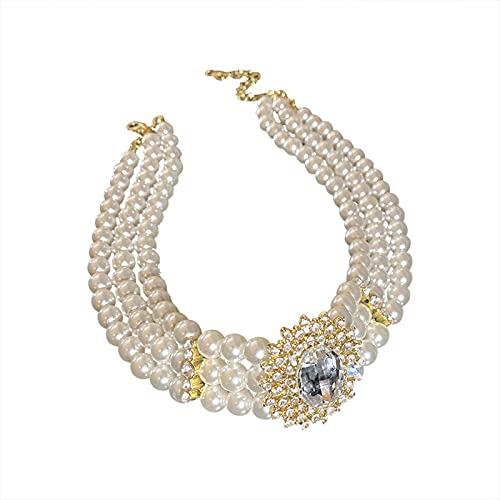 DSFG Joyería Retro con Incrustaciones de Cristal de Diamantes de imitación Collar de Gargantilla Corta de Perlas de Varias Filas para Mujer