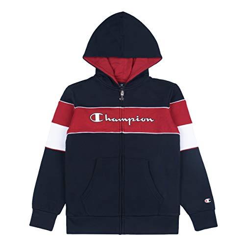 Champion Kinder Zip Hoodie Hooded Full Zip Sweatshirt 305388, Farbe:blau (NNY)/rot (cmr)/weiß (wht), Größe:2XL
