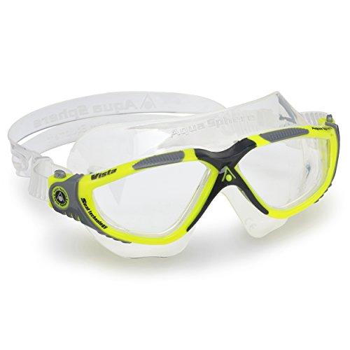 Aqua Sphere Unisex– Erwachsene Vista' Schwimmmaske, Yellow Grey/Clear Lens, Einheitsgröße