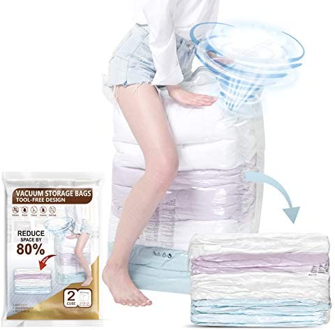Cube Vacuum Storage Bags 2 Super Jumbo Space Bags 31x 40x15 inch No Hand Pump Needed for Travel product image