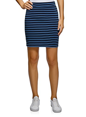 oodji Ultra Mujer Falda Básica de Punto, Azul, ES 36 / XS