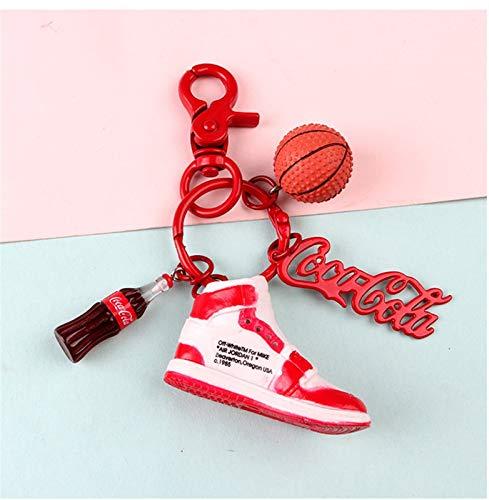 Xssbhsm Llavero Zapatos de Deporte Zapatillas de Deporte Zapatos Llavero 3D Mini Zapatilla de Deporte Keychain de la joyería Mandriles for los Hombres (Color : Red)