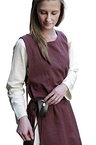 Elbenwald Camicia da Donna Medievale Senza Maniche con Cuciture Laterali in Cotone Marrone - L