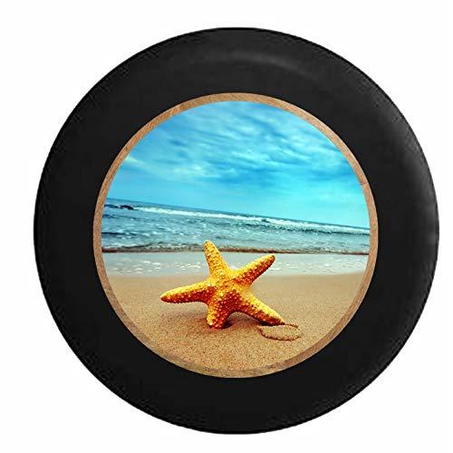 Hokdny Cubiertas De Neumáticos para Rueda De Repuesto Estrella De Mar Estrella De Mar En El Océano Agua Salada Negro A Prueba De Polvo, Impermeable, Protección Solar Y Protección contra La Corrosión.