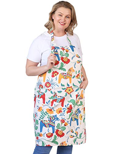 Cotton Linen Baking Plus Size Aprons for Women with Pockets Kitchen Cooking 2X-3X Flowers and Trojans