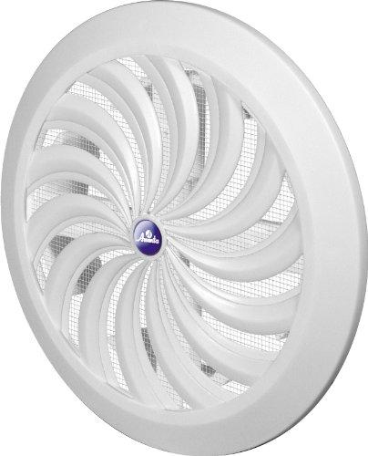 Rejilla de ventilación, diámetro 15 cm, forma redonda, color blanco, de plástico con cierre, con mosquitera T 89