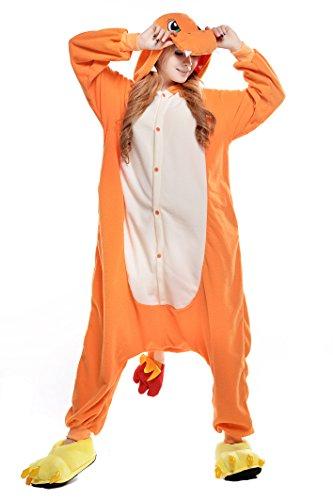 NEWCOSPLAY Unisex Adult Charmander Pajamas Halloween Onesie Costume (Orange, Small, s)