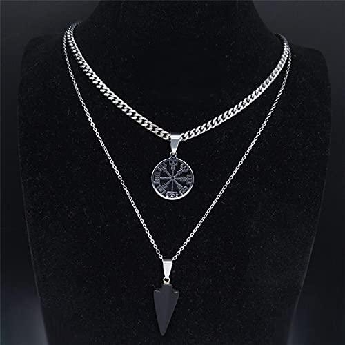 DOOLY 2 Pezzi Viking Vegvisir Compass Collana in Pietra Naturale in Acciaio Inossidabile Donna/Uomo Colore Nero Strato Collana Gioielli joyas