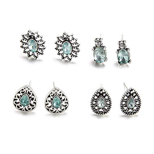CAIRLEE 4 pares de pendientes de cristal de temperamento para mujeres y niñas