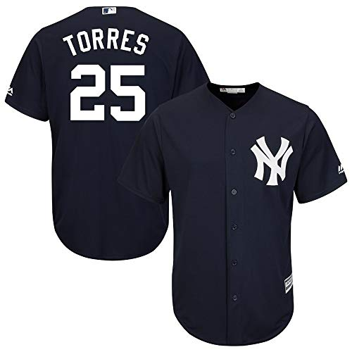 Jersey Baseball Hauptliga-Baseball # 25 Torres New York Yankees,Blue,Men-XL