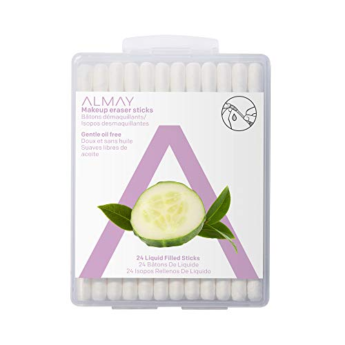 Almay Oil Free Makeup Eraser Sticks, Hypoallergenic, Cruelty Free, Fragrance Free, Ophthalmologist Tested, 24 Sticks