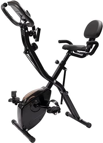 LAZY SPORTS Bicicleta estática spinning plegable con bandas de ejercicos, magnetorresistencia de nivel 8, asiento con apoyabrazos y respaldo, soporte para tablet, pantalla LCD, carga máx.150Kg