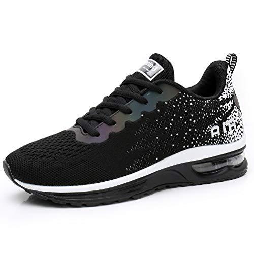 Dannto Zapatos Deporte Mujer Zapatillas Deportivas Correr Gimnasio Casual Zapatos para Caminar Mesh Running Transpirable Aumentar Más Altos Sneakers (Negro-C,36)
