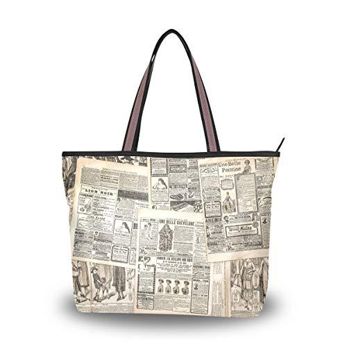 MyDaily Damen Schultertasche Vintage Zeitung Handtasche, multi - Größe: Large