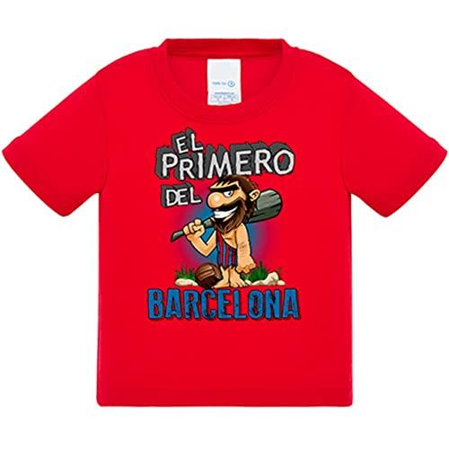 Camiseta bebé frase el primero del Barcelona para hincha de su equipo de fútbol - Rojo, 1 año