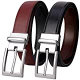 Lavemi Mens Belt Reversible 100% Italian Cow Leather Dress Casual Belts for men,One Reverse for 2 Colors,Trim to Fit(21863-2 130)