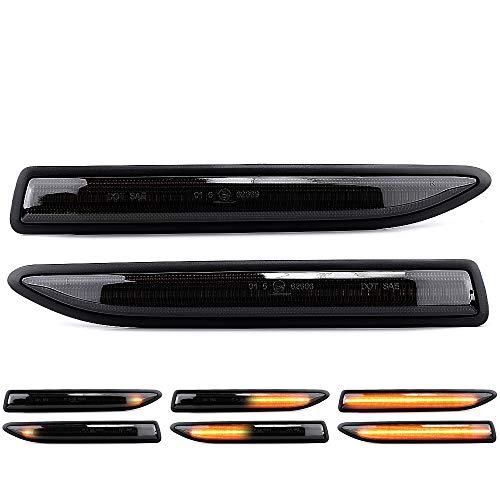 2 X LED Blinker Seitenblinker Blinkleuchte Dynamisch Laufblinker Kotflügel-Blinker Black Vision mit E-Prüfzeichen Links Rechts V-1707087G