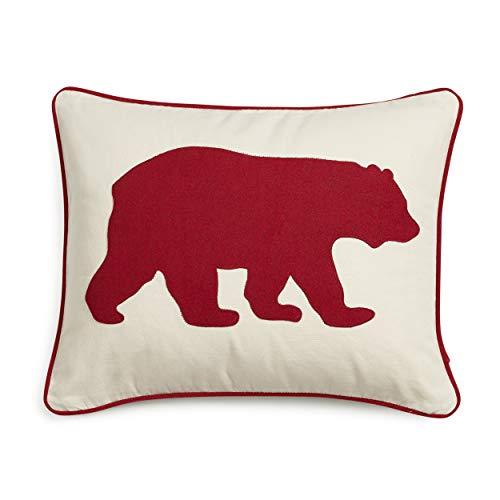 Eddie Bauer Home | Home Collection | 100% Cotton Twill Signature Bear Design Decorative Pillow, Zipper Closure, Easy Care Machine Washable, 16