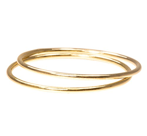 uGems 2 14K Gold Filled Stacking Rings 1mm Round Size 7
