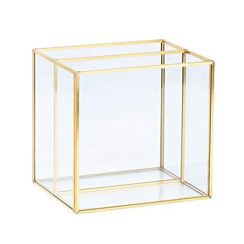 Xzbnwuviei Caja de almacenamiento de joyas de cristal dorado, soporte para brochas de maquillaje de cristal dorado, soporte para anillos, pendientes de cristal transparente decorativo para lápices
