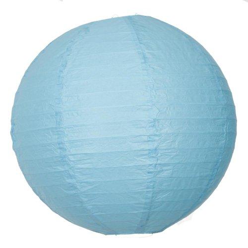 2,5 x 40,6 cm Turquoise Lanterne en papier ronde avec nervures en fil