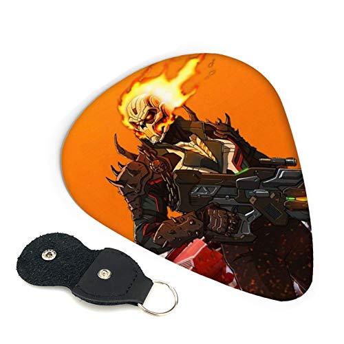Ghost Rider - Juego de 6 púas con soporte para púas para guitarras únicas regalo para adultos y hombres y mujeres para amantes de la música, fácil pegar, seleccione varios tamaños de 0,71 mm