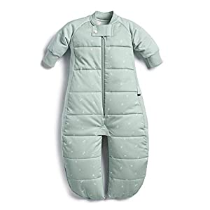 ergoPouch 2.5 TOG Sleep Suit Bag 100% Organic Cotton Filling with Cotton Sleeves and fold Over Mitts. 2 in 1 Wearable Blanket Sleeping Bag converts to Sleep Suit with Legs (Sage, 3-12 Months)