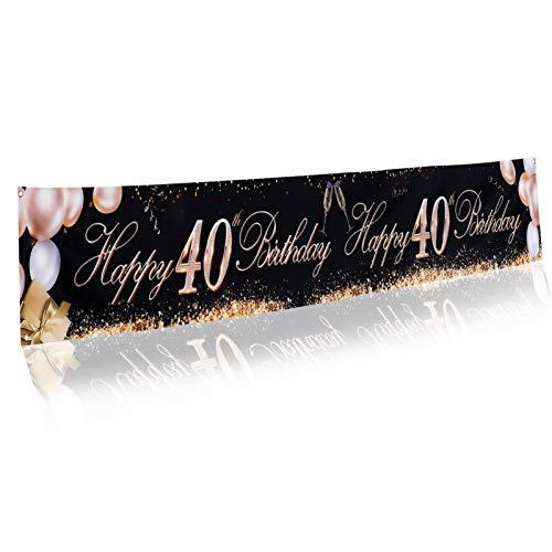 metagio Extra Lange Banner für 40. Geburtstag Dekoration Schwarz Gold, Glücklich 40. Geburtstag Party Dekoration, Geburtstag Schwarz Gold Party Lieferungen, Party Dekoration Lieferungen für Geburtstag