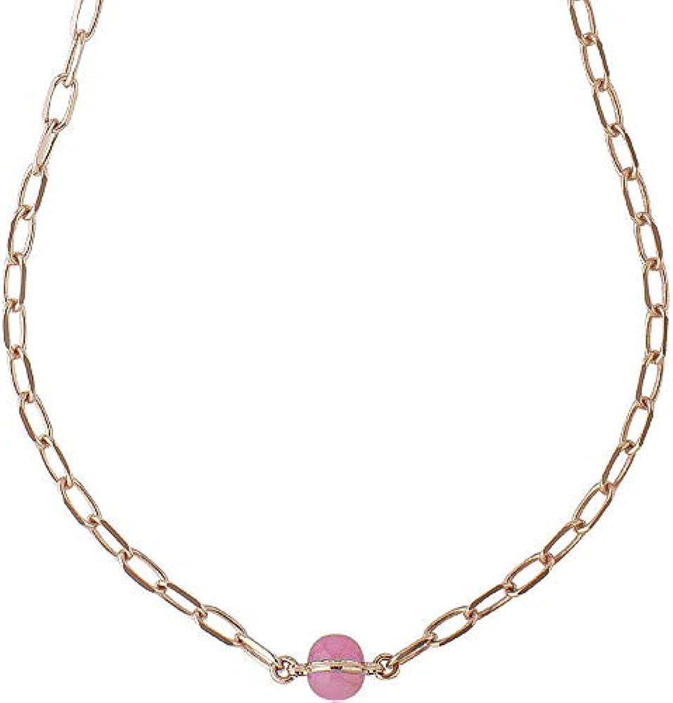 Boccadamo, collana a catena con cabochon fucsia per donna,bronzo placcata oro rosa Xgr554Rf