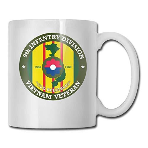 9ª División de Infantería de Vietnam Veteran Logo Mejor Idea de Regalo, Divertida Taza de Té de Cerámica Blanca