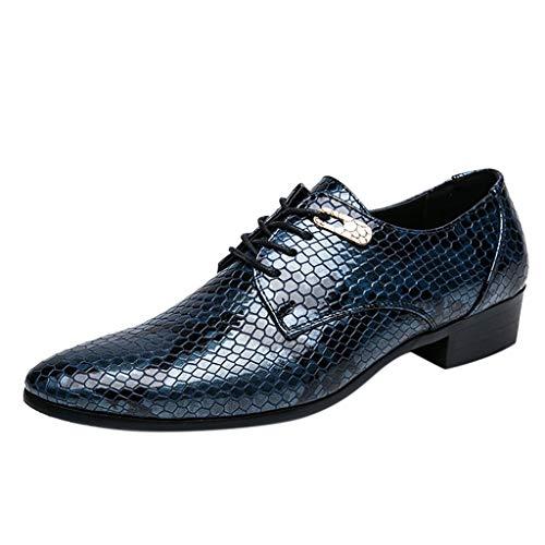 Celucke Derby-Schuhe Herren Derbys Schnürhalbschuhe in Kroko-Optik, Hochzeit Party Smoking Schuhe Männer Freizeitschuhe Anzugschuhe Oxford Casual Schnürschuhe (Blau, 42 EU)