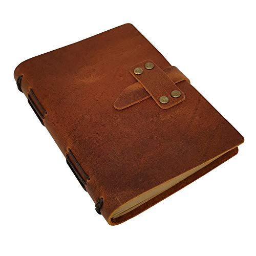 Handcraft Leather Journal with Lined Paper, 120 Sheets Kraft Pages, Leather Strap Closure, Light Brown, 5x7 Inches