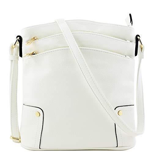 Triple Zip Pocket Large Crossbody Bag (White)