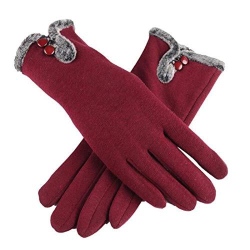 CCLIN Nueva Mujer Otoño Invierno no Invertida Terciopelo Cachemira Dedo Completo cálido Encaje Guantes Mujeres algodón Pantalla táctil Guantes G82-A Rojo Vino