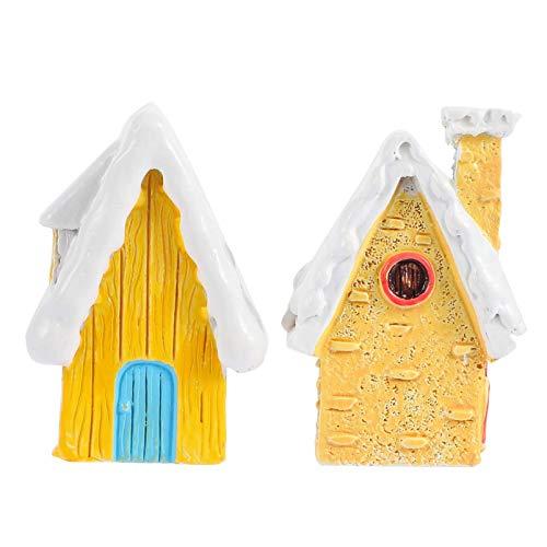 FEEE-ZC Miniature Fairy Garden Village Resin Village House Mini Fairy Cottage House Figurines DIY Fairy Garden Kits Dollhouse Supplies Micro Landscape Decoration 2pcs