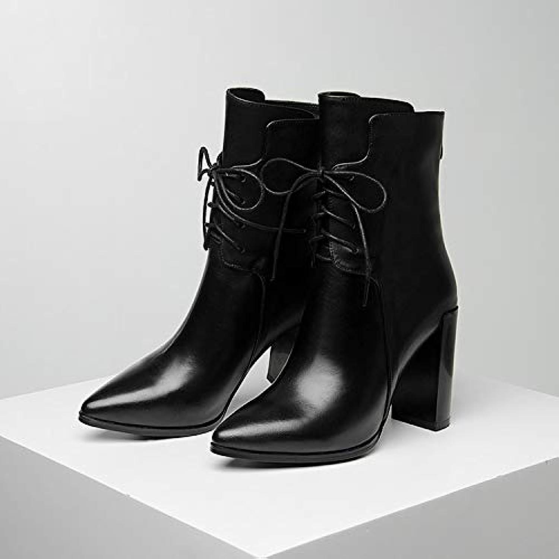 SWEAAY Stiefel Frauen Leder High Heels Spitze Dicke Ferse Schnürstiefel Mode Rücken Reiverschluss Samt Warme Stiefel