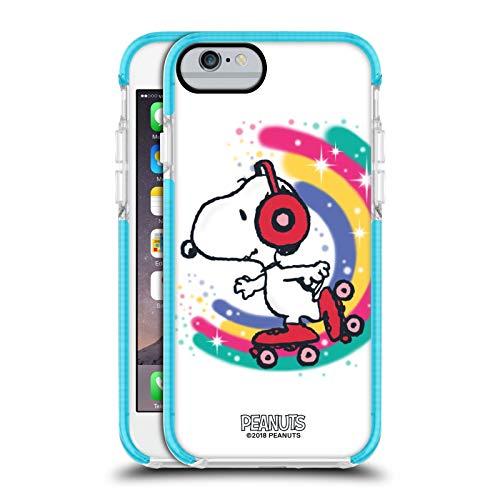 Head Case Designs Ufficiale Peanuts Skating Colorato Snoopy Passeggiata Aerografata Custodia Bumper Gel Blu a Prova di Urti Compatibile con Apple iPhone 6 / iPhone 6s