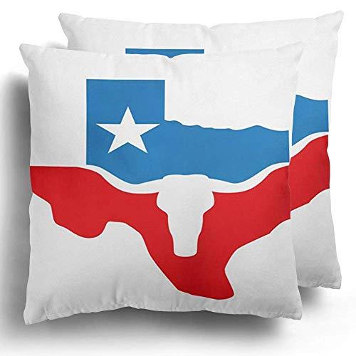 Throw Pillow Case Pack de 2 State Texas y Longhorn Star Vintage Bull Head Western Poliéster Cojín Funda de Almohada Sofá Decoración del hogar