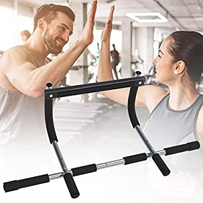 Pollenzic Pull Up Bar Multi Functional Strength Workout Bar Doorway Pull Up Bar Grip Chin Up Home Exercise Bar Upper Body Workout Bar Portable Gym System Fitness Training Bars for Home Gym Equipment